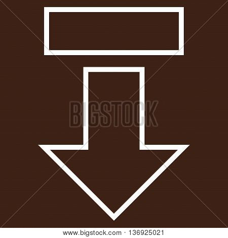 Pull Arrow Down vector icon. Style is contour icon symbol, white color, brown background.