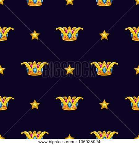 Seamless pattern with fancy cartoon vector golden crown and gold stars on dark background, royal vector texture