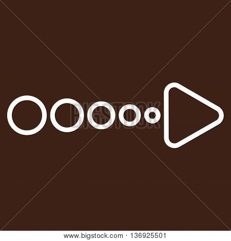 Pull Arrow Right vector icon. Style is thin line icon symbol, white color, brown background.