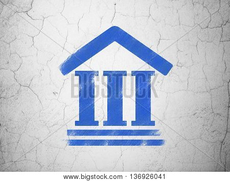 Law concept: Blue Courthouse on textured concrete wall background