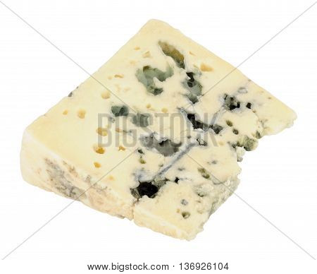 Traditional French Roquefort cheese wedge isolated on a white background