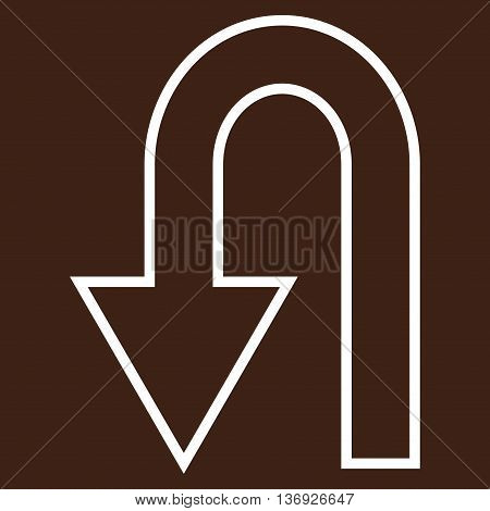 Return Arrow vector icon. Style is contour icon symbol, white color, brown background.