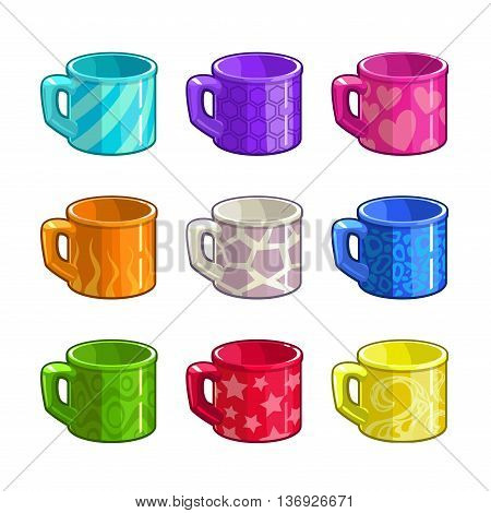 Cartoon colorful bright tea cup icons set, isolated coffee cups on white