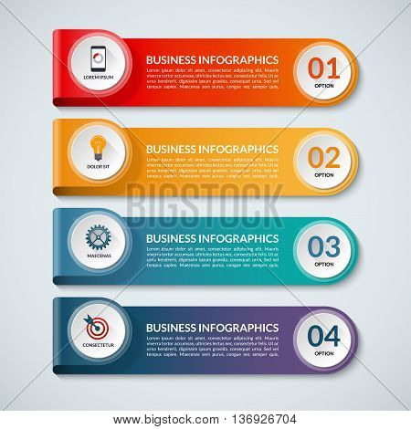 Infographic options banner with 4 circles, steps, parts, buttons. Vector template, what can be used for workflow layout, diagram, chart, report presentation, step by step infographics, web design.