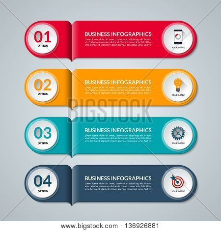 Modern template for infographics. Vector banner with 4 options, steps, parts, buttons. Business concept with circle elements and icons. Can be used for workflow layout, diagram, graph, web design.