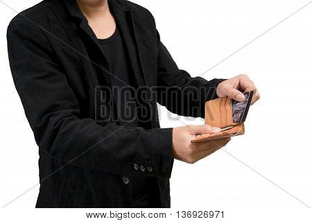 businessman hands holding open holding wallet and credit card