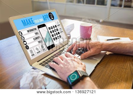 Make your own app smartphone against businessman working with a computer