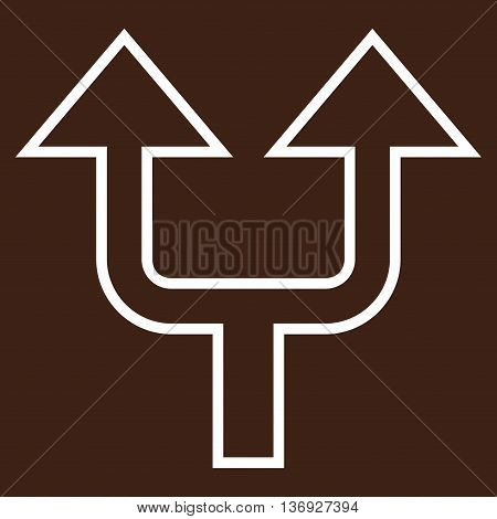 Split Arrow Up vector icon. Style is thin line icon symbol, white color, brown background.
