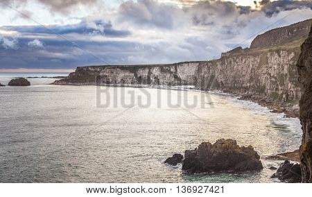 famous cliffs of moher castle tower west coast of ireland at wild atlantic ocean