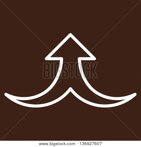 Together Arrow Up vector icon. Style is outline icon symbol, white color, brown background.