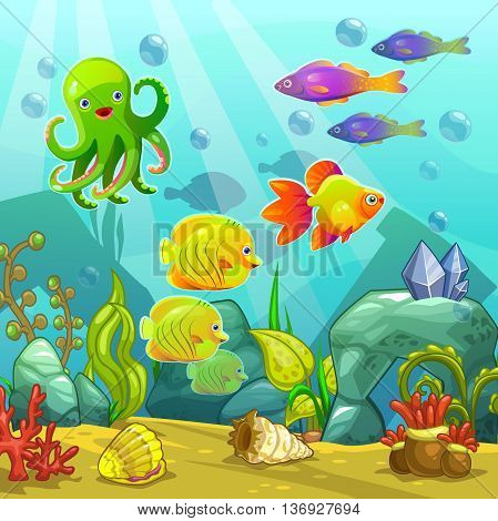 Cartoon underwater landscape, vector undersea illustration, funny aquarium location for gui design