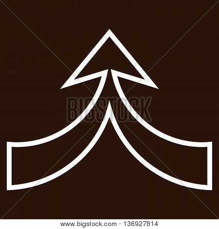 Unite Arrow Up vector icon. Style is thin line icon symbol, white color, brown background.