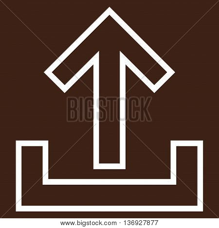 Upload vector icon. Style is outline icon symbol, white color, brown background.