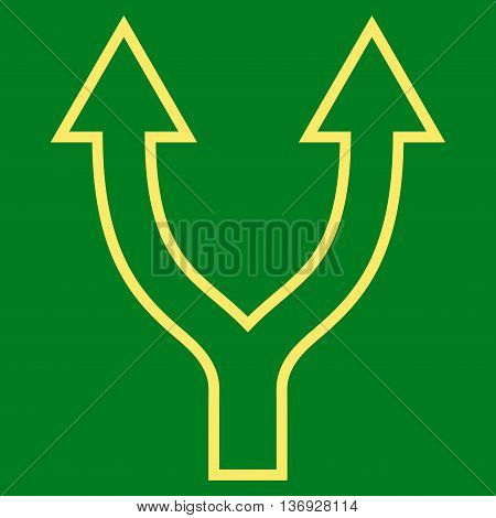 Bifurcation Arrow Up vector icon. Style is contour icon symbol, yellow color, green background.