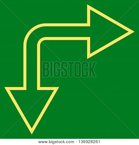 Choice Arrow Right Down vector icon. Style is stroke icon symbol, yellow color, green background.