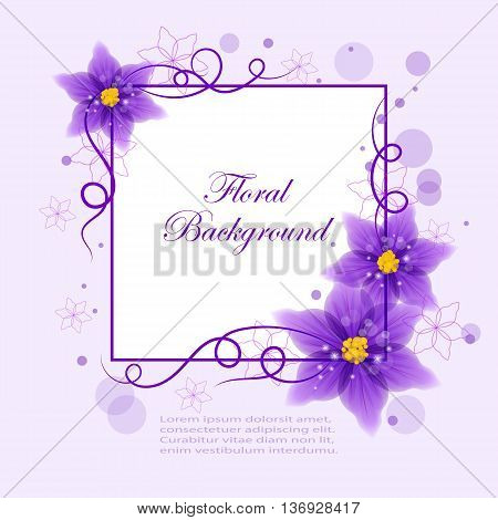 Floral vector background with beautiful violet flowers and circles for use in your design. Vector illustration.
