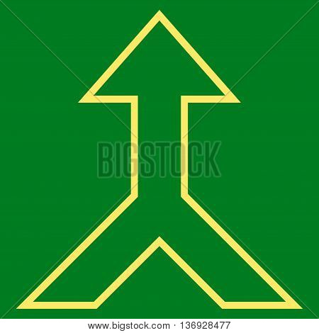 Combine Arrow Up vector icon. Style is contour icon symbol, yellow color, green background.