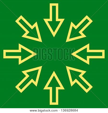 Compact Arrows vector icon. Style is thin line icon symbol, yellow color, green background.