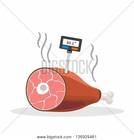 Thermometer for food stuck in a pig foot for the correct temperature of cooking meat. Digital thermometer for food.
