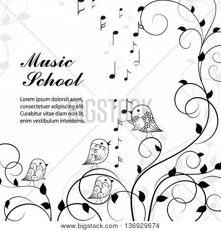 Vector illustration of singing birds on branch in black and white style.