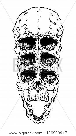 Terrible frightening skull. Creepy illustration for halloween
