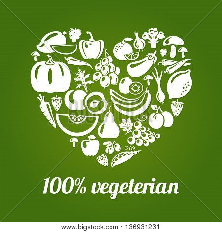 100 % vegetarian. Concept vector heart made of green peas eggplant potato carrot pumpkin avocado grapes apple peach kiwi lemon radish pepper chili garlic strawberries broccoli banana and others