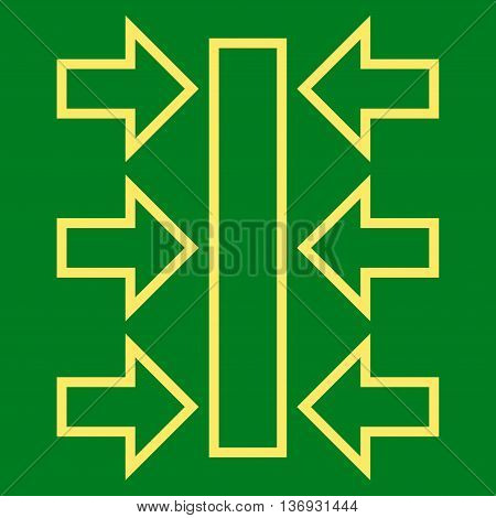 Pressure Horizontal vector icon. Style is outline icon symbol, yellow color, green background.