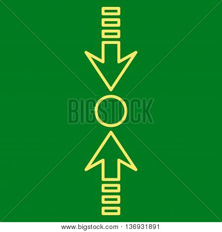 Pressure Vertical vector icon. Style is thin line icon symbol, yellow color, green background.