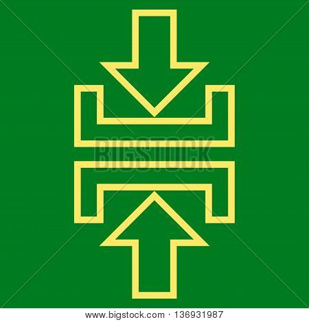 Pressure Vertical vector icon. Style is stroke icon symbol, yellow color, green background.