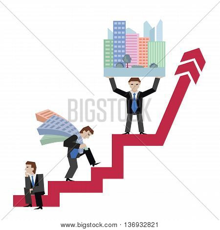 Businessman holding houses. Business concept the real estate market with arrow. Vector illustration of businessman with houses standing on arrow isolated on white background.