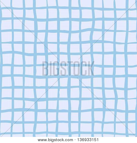 Checked square plaid vector seamless pattern. Vertical and horizontal hand drawn crossing blue stripes. Chequered geometrical background. Blue uneven bars.