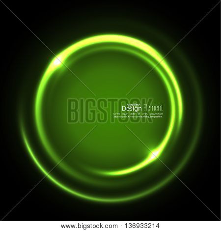 Abstract background with luminous swirling backdrop. Intersection curves. Glowing spiral. The energy flow tunnel. Vector. green, jade, malachite, lime