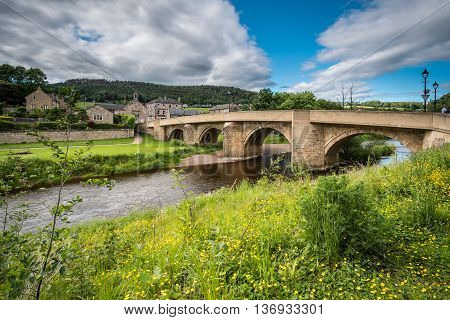 The road bridge at Rothbury, over the River Coquet leads into the town in Northumberland