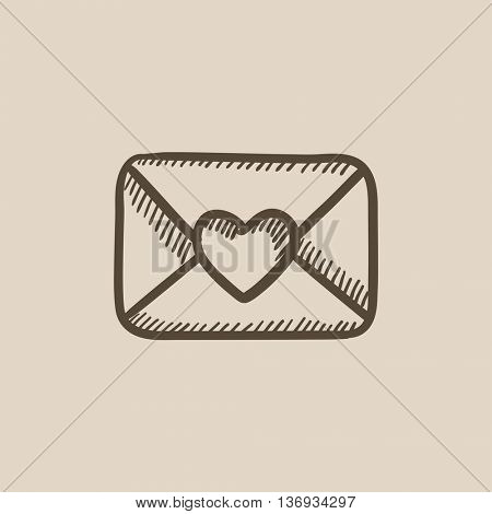 Envelope with heart vector sketch icon isolated on background. Hand drawn Envelope with heart icon. Envelope with heart sketch icon for infographic, website or app.