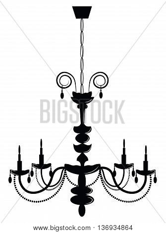 Classic chandelier on white background. Luxury decor accessory. Vector illustration sketch