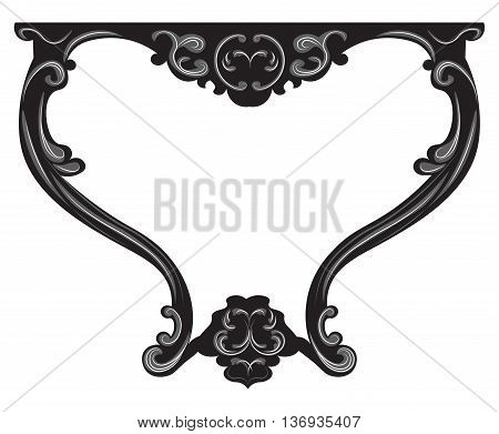 Vector Baroque Table furniture. Vector sketch furniture with luxury ornaments