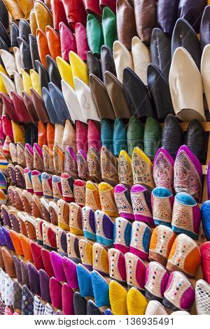 Colourful Moroccan slippers on the market in Marrakesh
