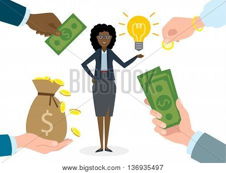 Businesswoman gets money for the idea. Beautiful african american businesswoman has idea bulb. Selling new ideas, getting money. Funding concept.