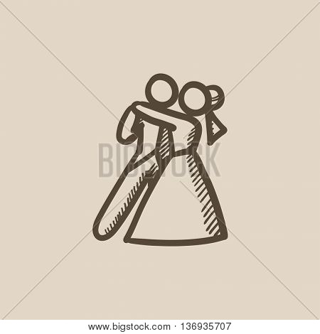 First wedding dance vector sketch icon isolated on background. Hand drawn First wedding dance icon. First wedding dance sketch icon for infographic, website or app.