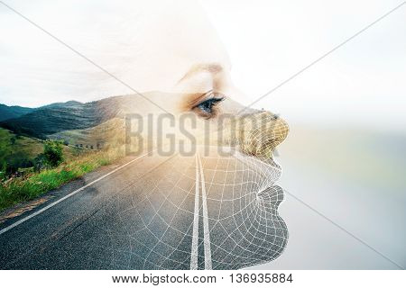 Side view of thoughtful woman's face on road and landscape background with sunlight. Double exposure