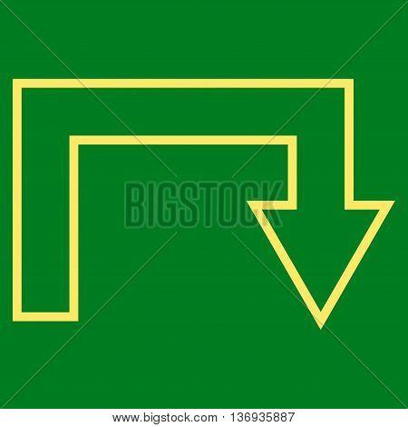 Turn Back vector icon. Style is outline icon symbol, yellow color, green background.