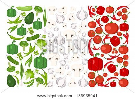 Italy flag from food. Vegetables, herbs, tomato, pepper, mushrooms, chili, avocado, onion, squash, cucumber, broccoli, peas. Food vector background. Italian food.