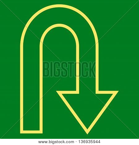 Turn Back vector icon. Style is stroke icon symbol, yellow color, green background.