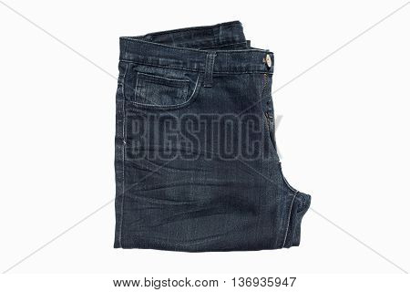 Dark blue jean isolated on white background.
