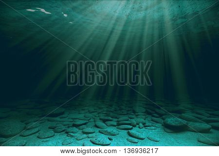 Stones and sunrays under water. 3D Rendering