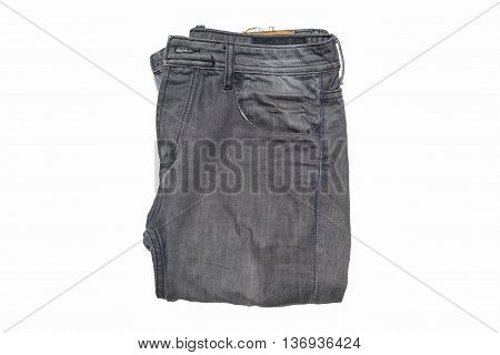 Black old jean isolated on white background.