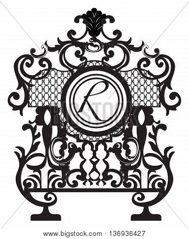 Baroque Ornament Decor element. Vector decor with Central circle shape place for Text