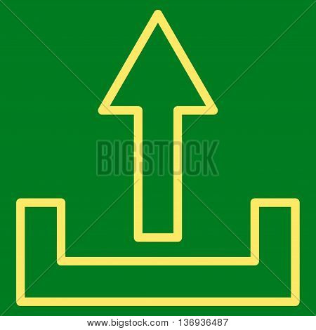 Upload vector icon. Style is stroke icon symbol, yellow color, green background.