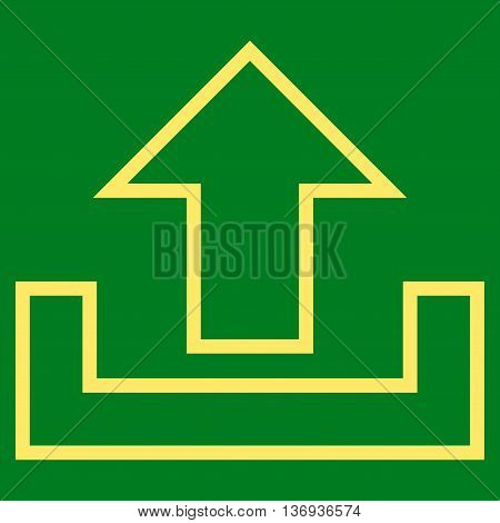 Upload vector icon. Style is outline icon symbol, yellow color, green background.