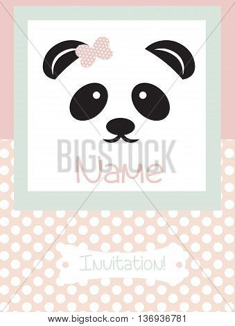 Invitation Card retro dotted pattern background. Vector Panda bear card for birthday party ceremony. Pastel pink color